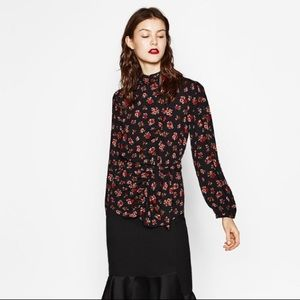 ZARA floral printed blouse with belt